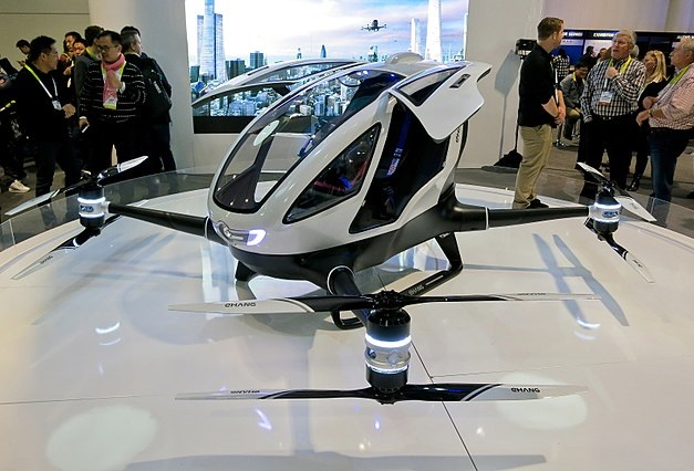 A scale model of a vertical take-off air taxi